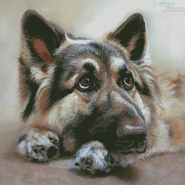 Artecy cross stitch german shepherd painting 2 crossing cross stitch